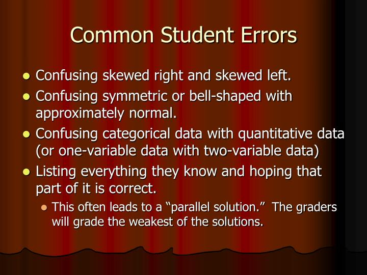 Common Student Errors