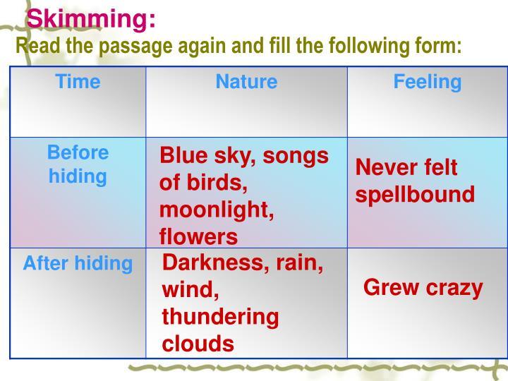 Skimming: