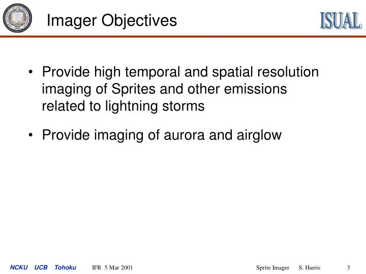 Imager objectives