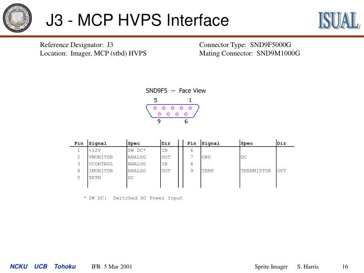 J3 - MCP HVPS Interface