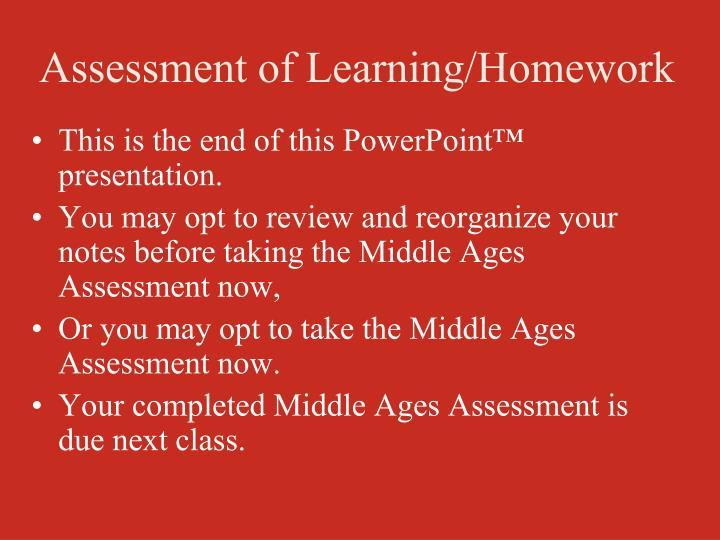 Assessment of Learning/Homework