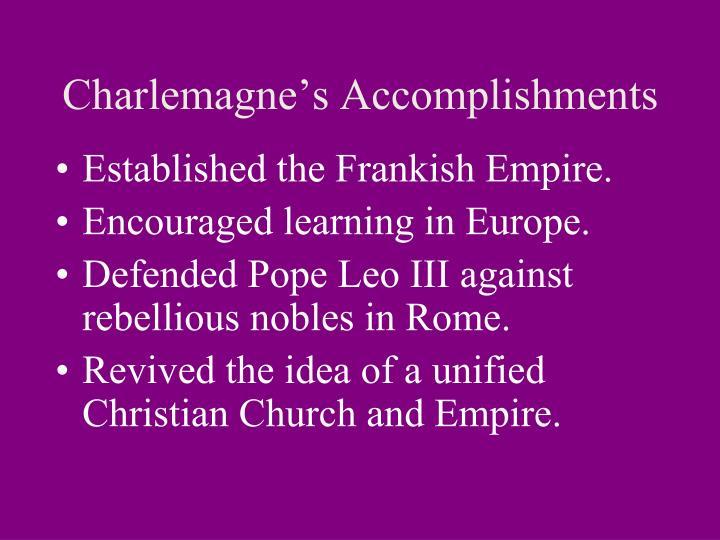 Charlemagne's Accomplishments