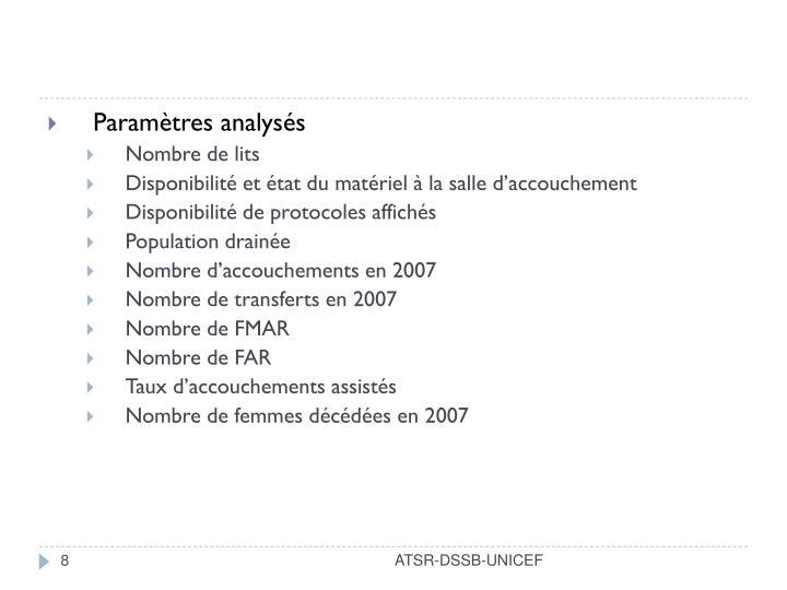 Paramètres analysés