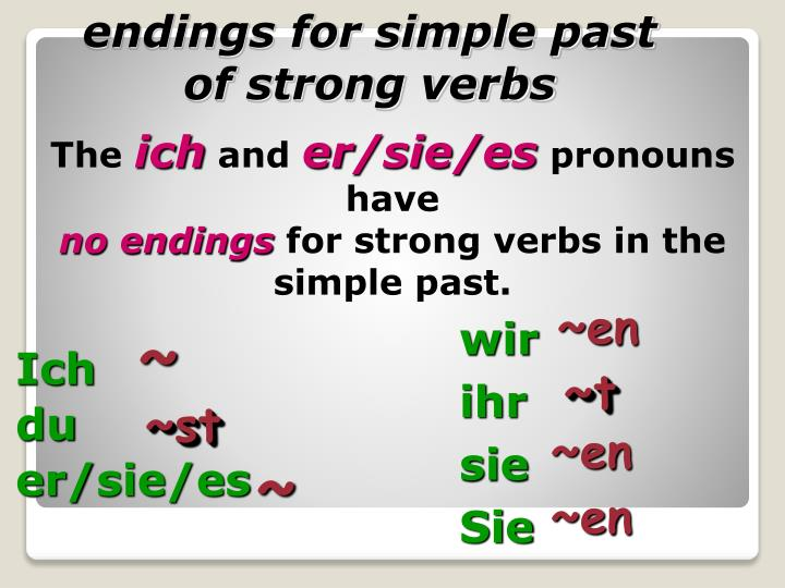 endings for simple past