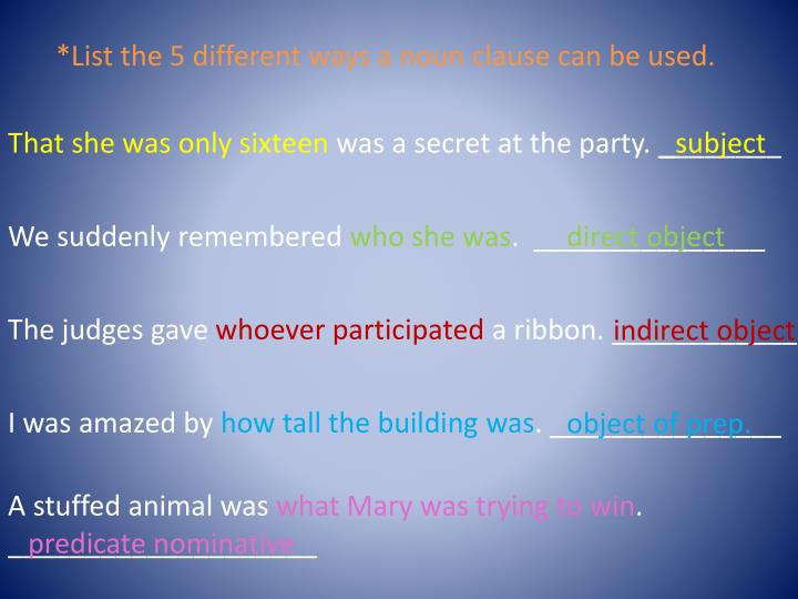 *List the 5 different ways a noun clause can be used.