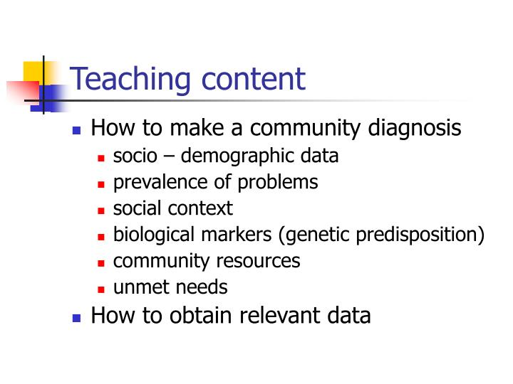 Teaching content