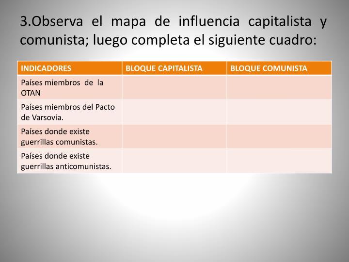3.Observa el mapa de influencia capitalista y comunista; luego completa el siguiente cuadro: