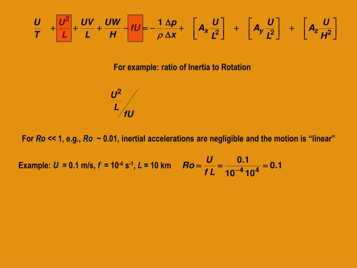 For example: ratio of Inertia to Rotation