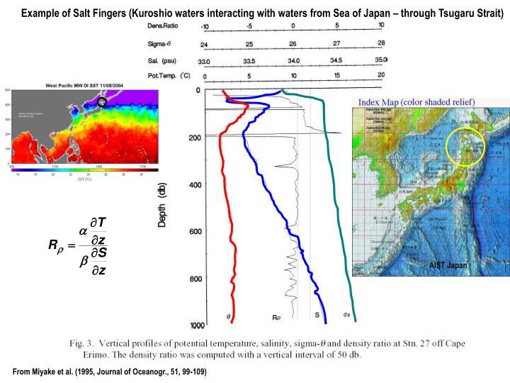 Example of Salt Fingers (Kuroshio waters interacting with waters from Sea of Japan – through Tsugaru Strait)