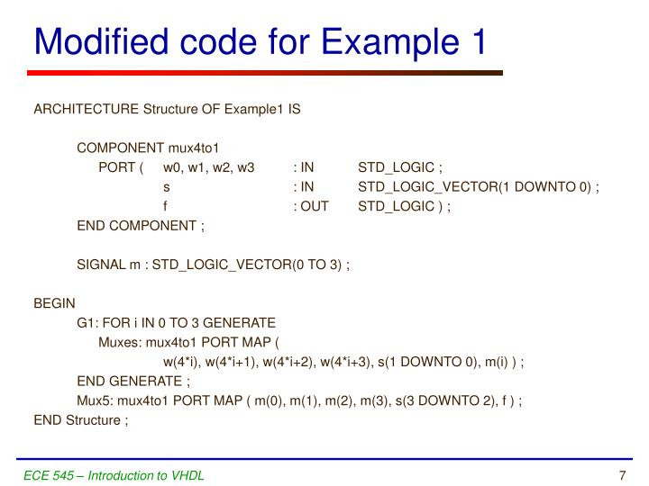 Modified code for Example 1
