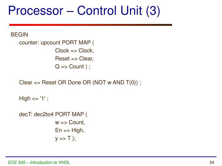 Processor – Control Unit (3)