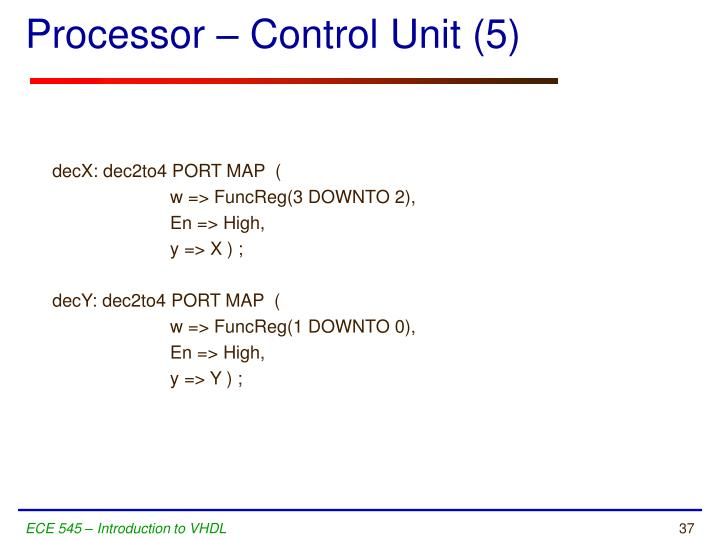 Processor – Control Unit (5)