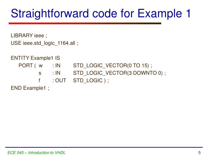 Straightforward code for Example 1