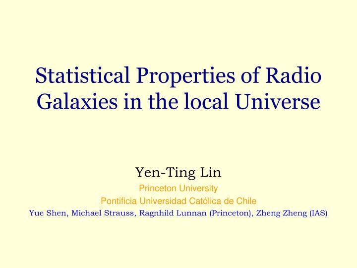 Statistical Properties of Radio Galaxies in the local Universe