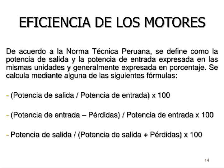 EFICIENCIA DE LOS MOTORES
