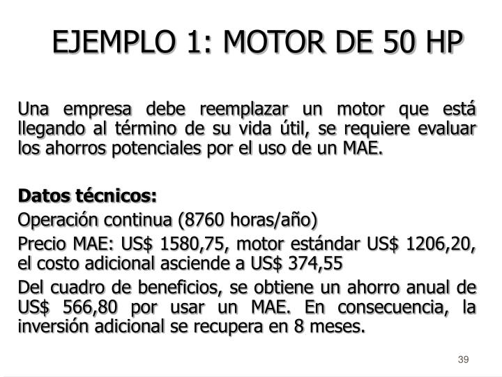 EJEMPLO 1: MOTOR DE 50 HP