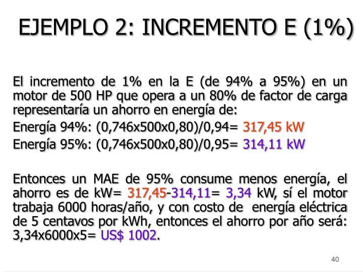 EJEMPLO 2: INCREMENTO E (1%)
