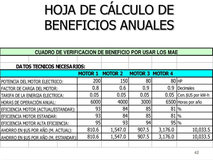 HOJA DE CÁLCULO DE BENEFICIOS ANUALES