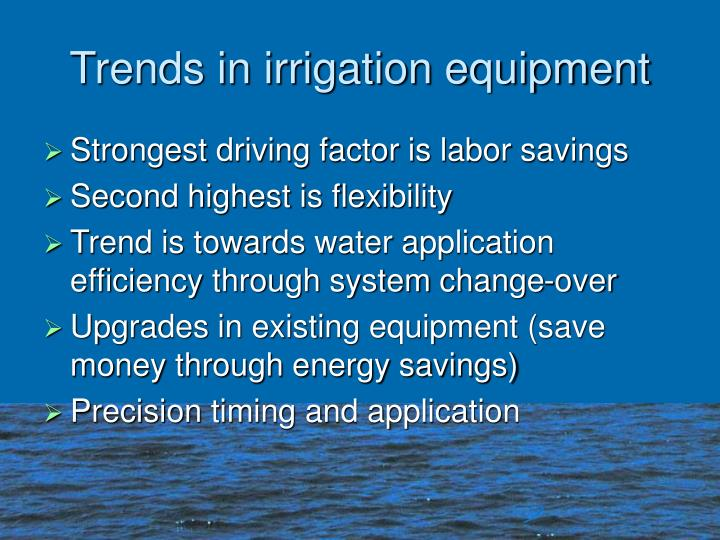 Trends in irrigation equipment