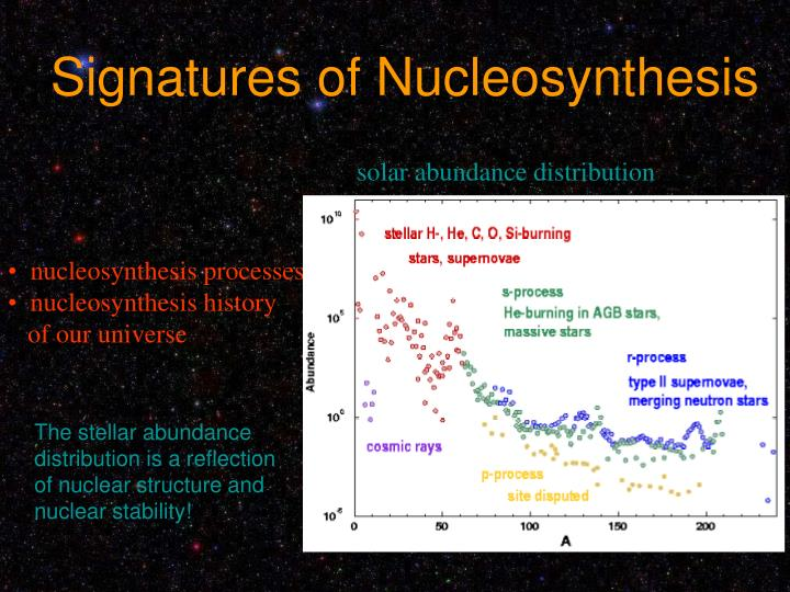 Signatures of Nucleosynthesis