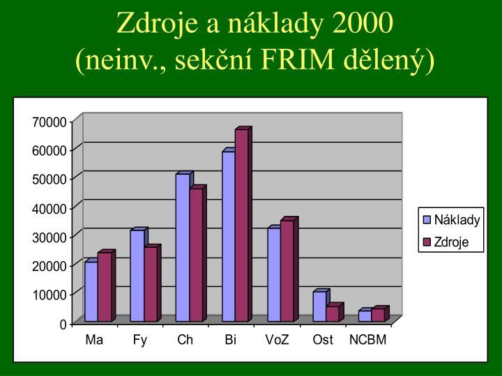 Zdroje a náklady 2000