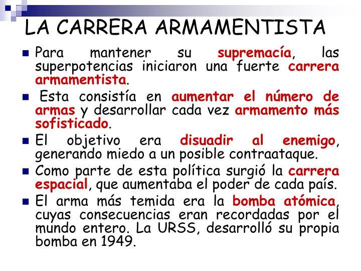 LA CARRERA ARMAMENTISTA