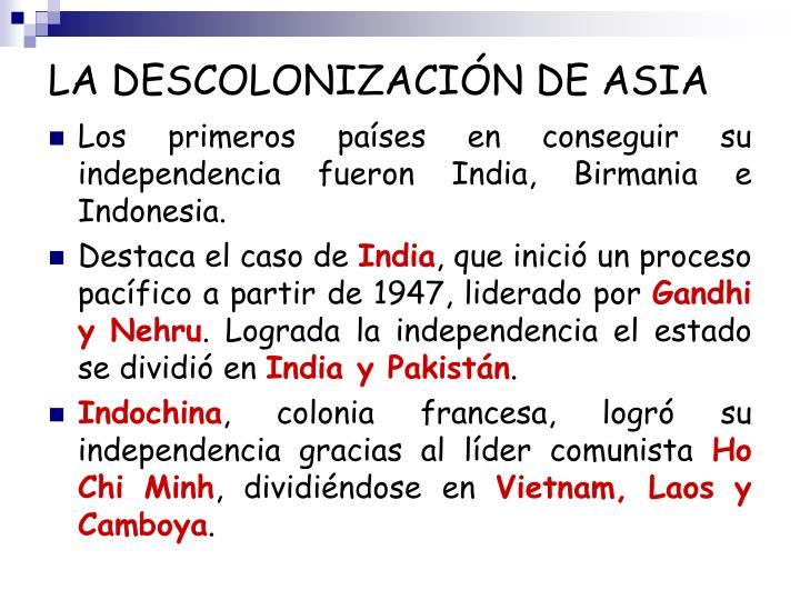 LA DESCOLONIZACIÓN DE ASIA