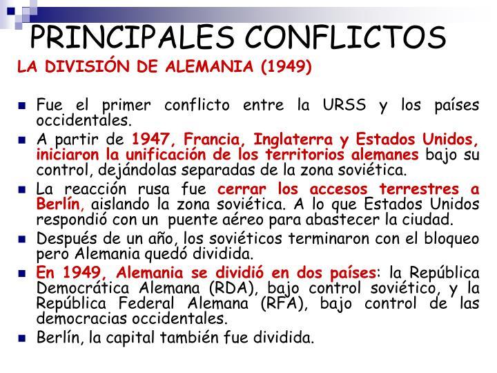 PRINCIPALES CONFLICTOS