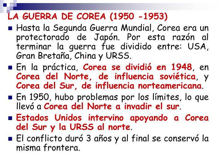 LA GUERRA DE COREA (1950 -1953)