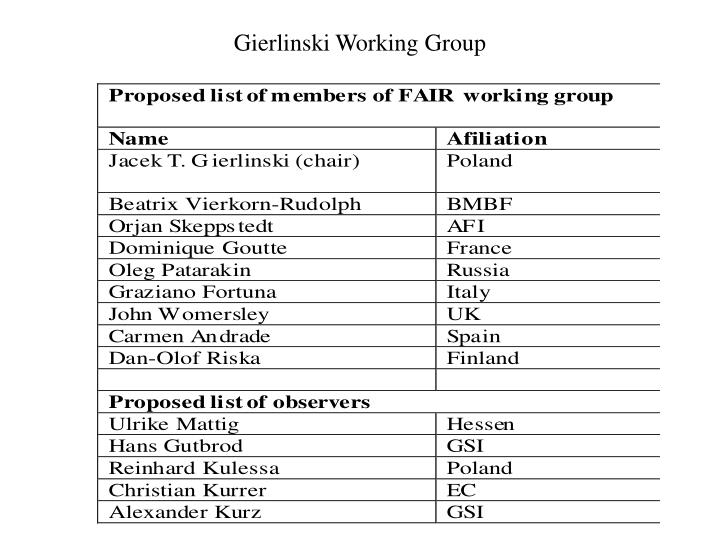 Gierlinski Working Group