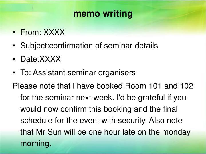 memo writing