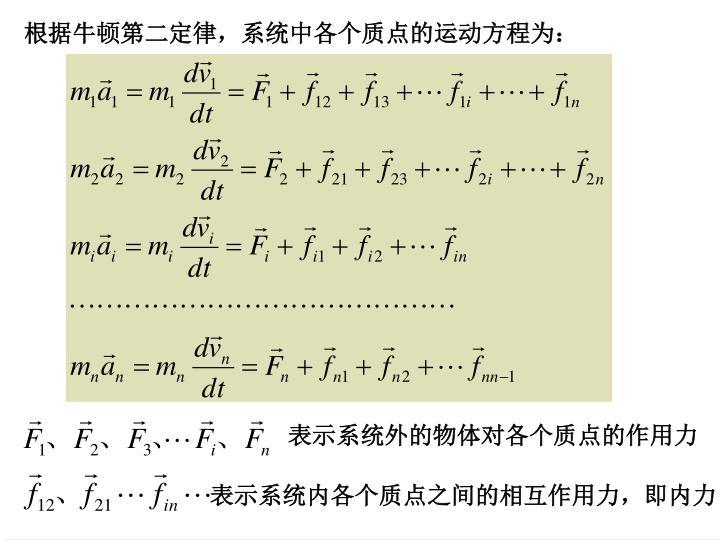 表示系统外的物体对各个质点的作用力