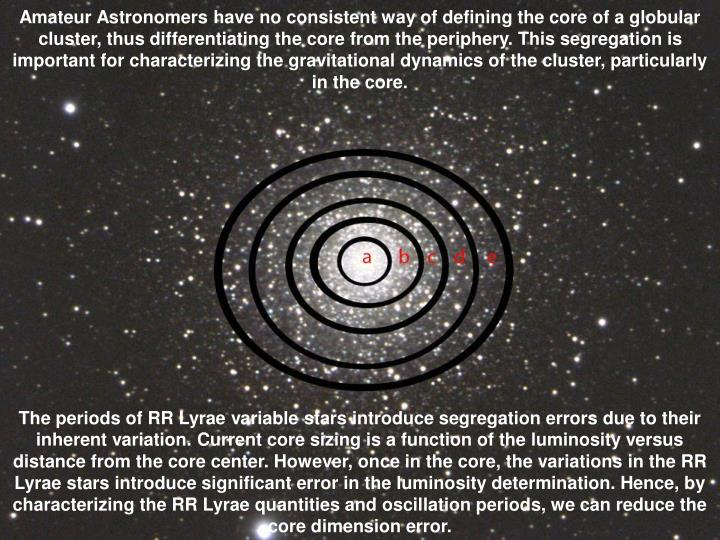 Amateur Astronomers have no consistent way of defining the core of a globular cluster, thus differentiating the core from the periphery. This segregation is important for characterizing the gravitational dynamics of the cluster, particularly in the core.