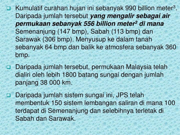 Kumulatif curahan hujan ini sebanyak 990 billion meter