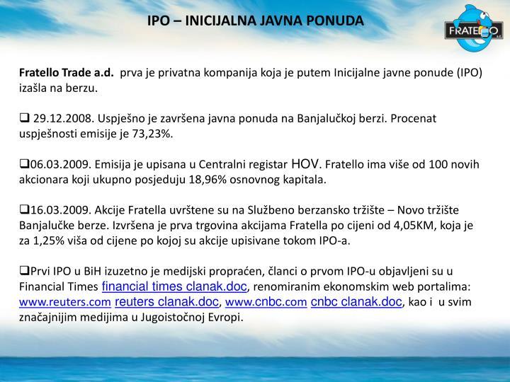 IPO – INICIJALNA JAVNA PONUDA
