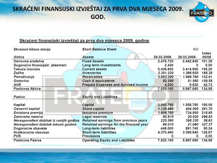 SKRAĆENI FINANSIJSKI IZVJEŠTAJ ZA PRVA DVA MJESECA 2009. GOD.