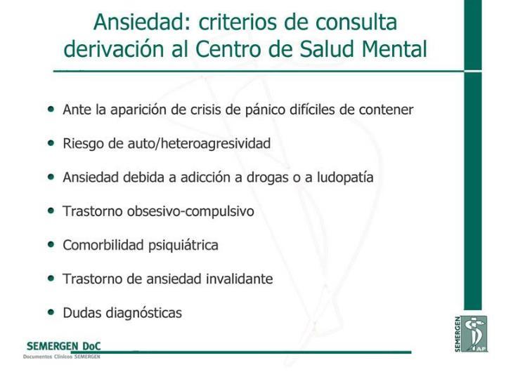 Ansiedad: criterios de consulta