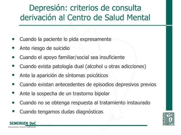 Depresión: criterios de consulta