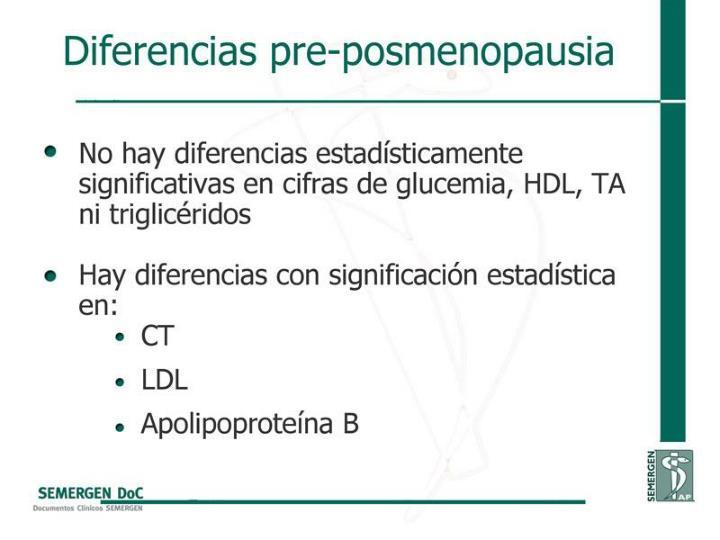 Diferencias pre-posmenopausia
