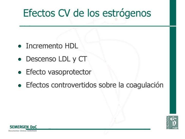 Efectos CV de los estrógenos