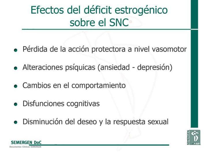 Efectos del déficit estrogénico