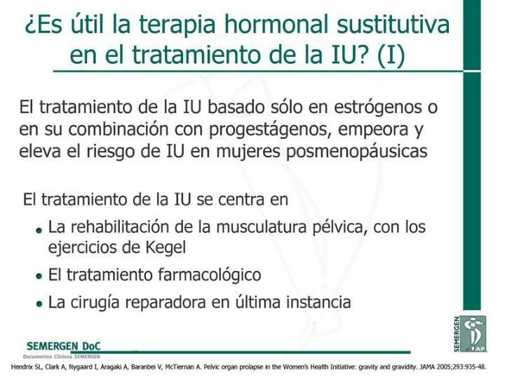 ¿Es útil la terapia hormonal sustitutiva en el tratamiento de la IU? (I)