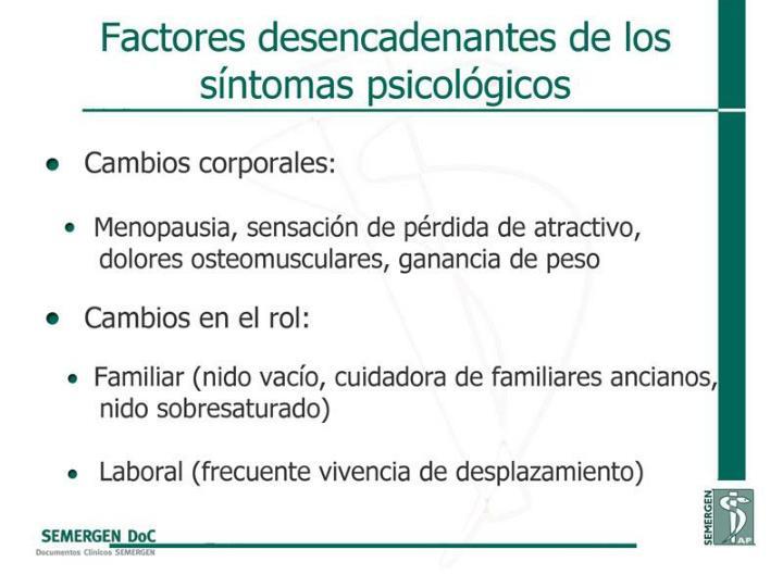 Factores desencadenantes de los síntomas psicológicos