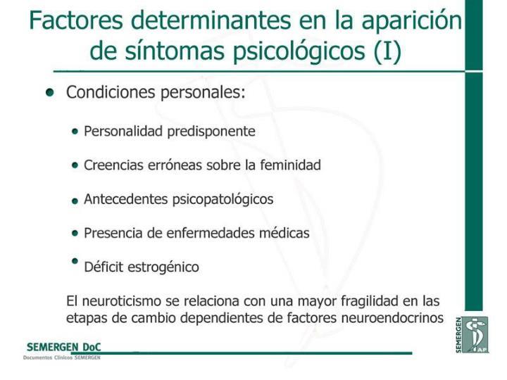 Factores determinantes en la aparición de síntomas psicológicos (I)