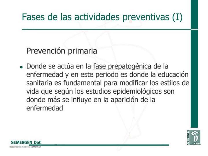 Fases de las actividades preventivas (I)