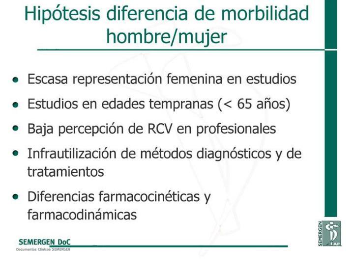 Hipótesis diferencia de morbilidad hombre/mujer