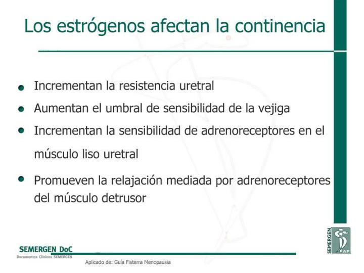 Los estrógenos afectan la continencia