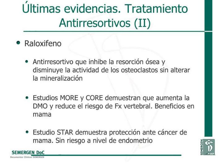 Últimas evidencias. Tratamiento Antirresortivos (II)