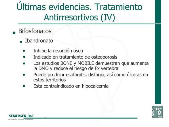 Últimas evidencias. Tratamiento Antirresortivos (IV)