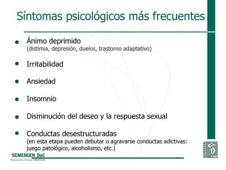 Síntomas psicológicos más frecuentes